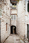 A narrow alleyway in the old town of Dubrovnik, Croatia.