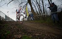 (later winner) Katie Comptom (USA)<br /> <br /> Vlaamse Druivencross Overijse 2013