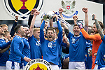 St Johnstone v Hibs…22.05.21  Scottish Cup Final Hampden Park<br />David Wotherspoon lifts the Scottish Cup after defeating Hibs 1-0<br />Picture by Graeme Hart.<br />Copyright Perthshire Picture Agency<br />Tel: 01738 623350  Mobile: 07990 594431