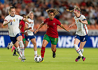 HOUSTON, TX - JUNE 10: Andreia Norton #8 of Portugal dribbles the ball during a game between Portugal and USWNT at BBVA Stadium on June 10, 2021 in Houston, Texas.