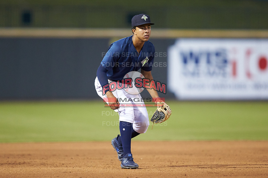 Columbia Fireflies third baseman Mark Vientos (13) on defense against the Rome Braves at Segra Park on May 13, 2019 in Columbia, South Carolina. The Fireflies defeated the Braves 6-1 in game two of a doubleheader. (Brian Westerholt/Four Seam Images)