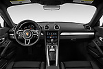 Stock photo of straight dashboard view of a 2019 Porsche 718 Cayman Base 2 Door Coupe