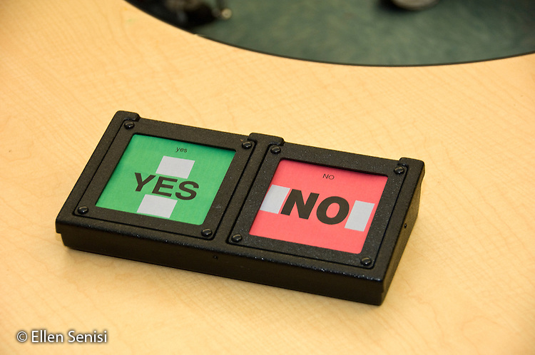 MR / Albany, NY.Langan School at Center for Disability Services .Ungraded private school which serves individuals with multiple disabilities.An alternative and augmentative communication device on classroom table that is being used by students during speech and language development lesson. This device allows students to choose yes or no in response to a question asked..MR: AH-cfds.© Ellen B. Senisi