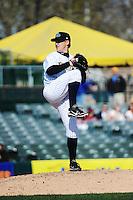 Trenton Thunder pitcher Josh Romanski (23) during game against the Richmond Flying Squirrels at ARM & HAMMER Park on April 14 2013 in Trenton, NJ.  Trenton defeated Richmond 15-1.  (Tomasso DeRosa/Four Seam Images)