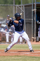 San Diego Padres catcher Luis Campusano (20) at bat during an Instructional League game against the Milwaukee Brewers on September 27, 2017 at Peoria Sports Complex in Peoria, Arizona. (Zachary Lucy/Four Seam Images)