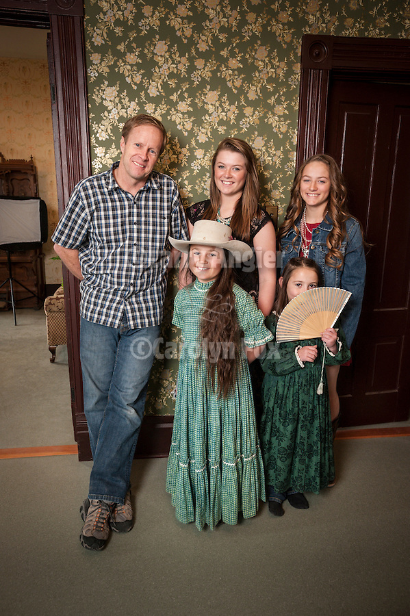 Shooting the West XXV, Winnemucca, Nev...Tom Bol with his models, four sisters home schooled at their ranch home