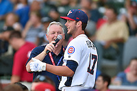 Tennessee Smokies third baseman Kris Bryant #17 talks with the announcer during the Southern League Home Run Derby at Engel Stadium on June 16, 2014 in Chattanooga, Tennessee.  (Tony Farlow/Four Seam Images)
