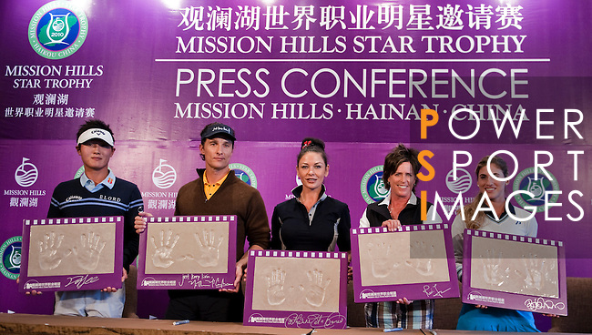 HAIKOU, CHINA - OCTOBER 28:  (L-R) New Zealand golfer Danny Lee, Hollywood actor Matthew McConaughey, Oscar-winning actress Catherine Zeta-Jones, Solheim Cup's captain Rosie Jones of the USA and Spanish golfer Belen Mozo pose with their handprints during a press conference as part of the Mission Hills Star Trophy on October 28, 2010 in Haikou, China. The Mission Hills Star Trophy is Asia's leading leisure liflestyle event and features Hollywood celebrities and international golf stars.  Photo by Victor Fraile / The Power of Sport Images