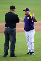 LSU Tigers head coach Paul Mainieri argues with the umpire during the NCAA Super Regional baseball game against Stony Brook on June 9, 2012 at Alex Box Stadium in Baton Rouge, Louisiana. Stony Brook defeated LSU 3-1. (Andrew Woolley/Four Seam Images)