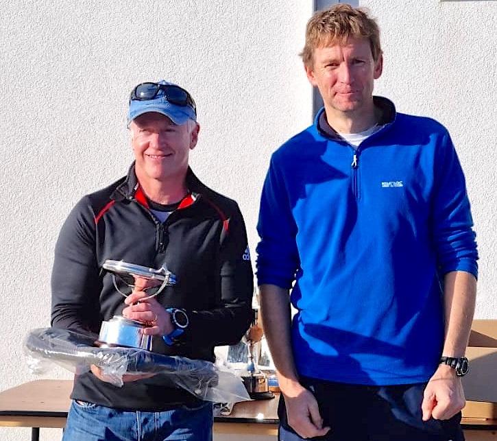 RS Aero Southern Championships winner Daragh Sheridan (left) and Greystones Sailing Club Commodore Barry Keogh