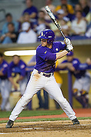 LSU Tigers outfielder Sean McMullen #7 at bat during the Southeastern Conference baseball game against the Georgia Bulldogs on March 22, 2014 at Alex Box Stadium in Baton Rouge, La. The Tigers defeated the Bulldogs 2-1. (Andrew Woolley/Four Seam Images)