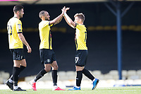 Lloyd Kerry, Harrogate Town,  celebrates following his goal during Southend United vs Harrogate Town, Sky Bet EFL League 2 Football at Roots Hall on 12th September 2020