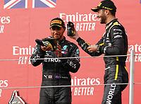 1st November 2020, Imola, Italy; FIA Formula 1 Grand Prix Emilia Romagna, Race Day;  44 Lewis Hamilton GBR, Mercedes-AMG Petronas Formula One Team shares drinking shoes with 3rd placed  3 Daniel Ricciardo AUS, Renault DP World F1 Team