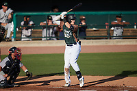 Curtis Mead (16) of the Charleston Boiled Peanuts at bat against the Augusta GreenJackets at Joseph P. Riley, Jr. Park on June 26, 2021 in Charleston, South Carolina. (Brian Westerholt/Four Seam Images)