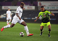 Pictured: Tyler Reid of Swansea City (R) crosses the ball Monday 15 May 2017<br /> Re: Premier League Cup Final, Swansea City FC U23 v Reading U23 at the Liberty Stadium, Wales, UK