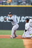 Scranton\Wilkes-Barre RailRiders shortstop Cole Figueroa (2) holds onto the baseball after forcing out Carlos Sanchez (13) of the Charlotte Knights at second base at BB&T BallPark on May 1, 2015 in Charlotte, North Carolina.  The RailRiders defeated the Knights 5-4.  (Brian Westerholt/Four Seam Images)