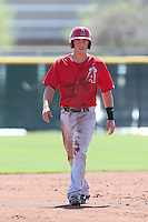 Alex Yarbrough #81 of the Los Angeles Angels runs the bases during a Minor League Spring Training Game against the Oakland Athletics at the Los Angeles Angels Spring Training Complex on March 17, 2014 in Tempe, Arizona. (Larry Goren/Four Seam Images)