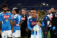 Napoli's Jose Callejon holds the trophy at the end of the Italian Cup football final match between Napoli and Juventus at Rome's Olympic stadium, with closed doors, June 17, 2020. Napoli won 4-2 at the end of a penalty shootout following a scoreless draw.<br /> UPDATE IMAGES PRESS/Isabella Bonotto