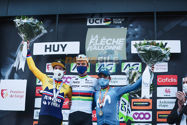 World Champion Julian Alaphilippe (FRA) Deceuninck-Quick Step wins with Slovenian Champion Primoz Roglic (SLO) Jumbo-Visma in 2nd place and Alejandro Valverde (ESP) Movistar Team on the podium in 3rd place at the end of the 2021 Flèche-Wallonne, running 193.6km from Charleroi to Huy, Belgium. 21st April 2021.  <br /> Picture: A.S.O./Aurélien Vialatte | Cyclefile<br /> <br /> All photos usage must carry mandatory copyright credit (© Cyclefile | A.S.O./Aurélien Vialatte)