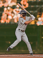 20 August 2015: Tri-City ValleyCats outfielder Aaron Mizell at bat in the first inning against the Vermont Lake Monsters at Centennial Field in Burlington, Vermont. The Stedler Division-leading ValleyCats defeated the Lake Monsters 5-2 in NY Penn League action. Mandatory Credit: Ed Wolfstein Photo *** RAW Image File Available ****