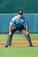 Third base umpire John Bostwick looks on during game one of a Pacific Coast League doubleheader between the Iowa Cubs and the Colorado Springs Sky Sox on August 17, 2017 at Principal Park in Des Moines, Iowa. Iowa defeated Colorado Springs 1-0. (Brad Krause/Four Seam Images)
