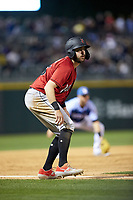 Will Craig (25) of the Indianapolis Indians takes his lead off of third base against the Charlotte Knights at BB&T BallPark on April 27, 2019 in Charlotte, North Carolina. The Indians defeated the Knights 8-4. (Brian Westerholt/Four Seam Images)