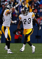 ORCHARD PARK, NY - NOVEMBER 28:  Troy Polamalu #43 and Keenan Lewis #23 of the Pittsburgh Steelers celebrate during the game against the Buffalo Bills on November 28, 2010 at Ralph Wilson Stadium in Orchard Park, New York.  (Photo by Jared Wickerham/Getty Images)