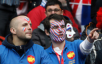 Rugby, Torneo Sei Nazioni: Italia vs Francia. Roma, stadio Olimpico, 15 marzo 2015.<br /> French fans wait for the start of the Six Nations championship rugby match between Italy and France at Rome's Olympic stadium, 15 March 2015.<br /> UPDATE IMAGES PRESS/Riccardo De Luca