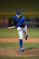 AZL Cubs 2 relief pitcher Nathan Sweeney (48) follows through on his delivery during an Arizona League game against the AZL Rangers at Sloan Park on July 7, 2018 in Mesa, Arizona. AZL Rangers defeated AZL Cubs 2 11-2. (Zachary Lucy/Four Seam Images)