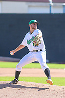 Clinton LumberKings pitcher Sam Delaplane (28) delivers a pitch during a Midwest League game against the Lansing Lugnuts on July 15, 2018 at Ashford University Field in Clinton, Iowa. Clinton defeated Lansing 6-2. (Brad Krause/Four Seam Images)