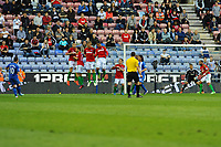 Tuesday, 7 May 2013<br /><br />Pictured: Swansea City defend a free kick taken byShaun Maloney of Wigan Athletic<br /><br />Re: Barclays Premier League Wigan Athletic v Swansea City FC  at the DW Stadium, Wigan