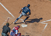 9 July 2017: Atlanta Braves infielder Johan Camargo hits a solo home run to lead off the 6th inning against the Washington Nationals at Nationals Park in Washington, DC. The Nationals defeated the Braves to split their 4-game series. Mandatory Credit: Ed Wolfstein Photo *** RAW (NEF) Image File Available ***