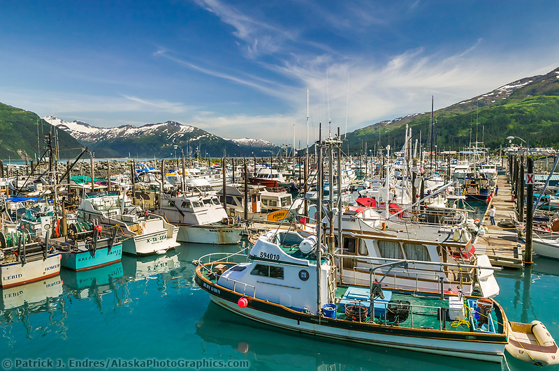 Boats in the harbor of the Coastal town of Whittier, Alaska, in Western Prince William Sound.
