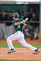 Chicago State University Cougars first baseman Ray Cekus #14 during a game against the Muskingum Fighting Muskies at South County Regional Park on March 3, 2013 in Punta Gorda, Florida.  (Mike Janes/Four Seam Images)