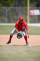 Washington Nationals Aldrem Corredor (5) fields a ball during practice before a minor league Spring Training game against the St. Louis Cardinals on March 27, 2017 at the Roger Dean Stadium Complex in Jupiter, Florida.  (Mike Janes/Four Seam Images)