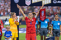 CHARLOTTE, NC - OCTOBER 3: Ali Krieger #11 stands at midfield during a game between Korea Republic and USWNT at Bank of America Stadium on October 3, 2019 in Charlotte, North Carolina.