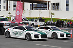 Dubai Police sublte supercars lined up before the start of Stage 6 of the 2021 UAE Tour running 165km from Deira Island to Palm Jumeirah, Dubai, UAE. 26th February 2021.  <br /> Picture: Eoin Clarke   Cyclefile<br /> <br /> All photos usage must carry mandatory copyright credit (© Cyclefile   Eoin Clarke)