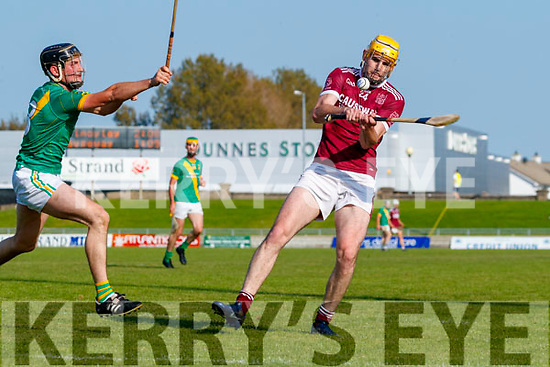 Colman Savage, Kilmoyley in action against Sean Leahy, Causeway during the Kerry County Senior Hurling Championship Final match between Kilmoyley and Causeway at Austin Stack Park in Tralee