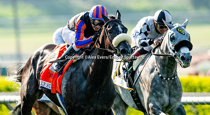 May 31, 2021: #7 Maxim Rate and jockey Juan C. Hernandez win the Grade 1 Gamely Stakes for trainer Simon Callaghan at Santa Anita Park in Arcardia, California. Alex Evers/Eclipse Sportswire/CSM