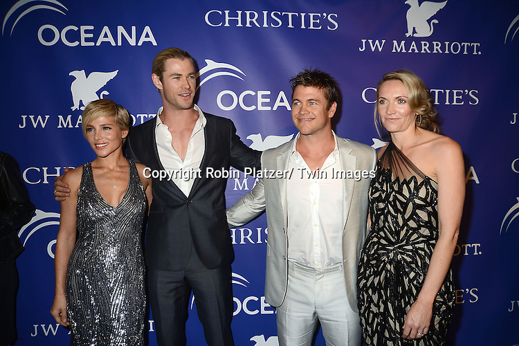 Elsa Pataky and husband Chris Hemsworth and Luke Hemsworth and Samantha Hemsworth attend the Inaugural Oceana Ball on April 8, 2013 at Christie's in New York City.
