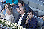 Spanish actors Raul Arevalo (l), Jose Coronado (c) and Alex Gonzalez during Madrid Open Tennis 2015 Final match.May, 10, 2015.(ALTERPHOTOS/Acero)