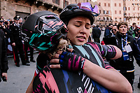 Katarzyna Niewiadoma (POL/Canyon-SRAM) gets a hug from a teammate after finishing 3rd<br /> <br /> 5th Strade Bianche WE (1.WWT)<br /> One day race from Siena to Siena (136km)<br /> <br /> ©JojoHarper for kramon