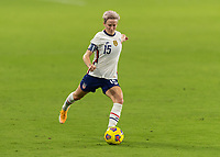 ORLANDO, FL - JANUARY 22: Megan Rapinoe #15 takes a free kick during a game between Colombia and USWNT at Exploria stadium on January 22, 2021 in Orlando, Florida.