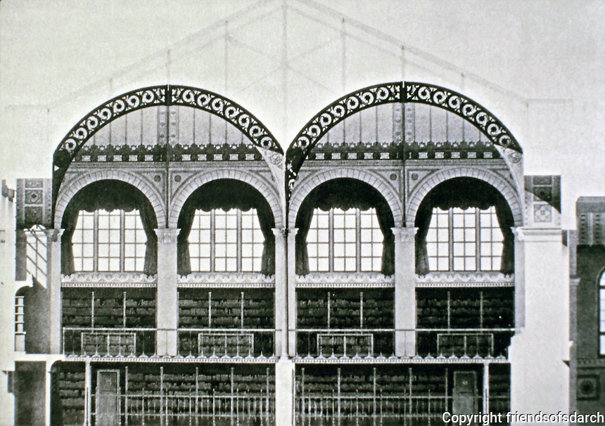 Henri Labrouste, Architect. Drawing of Bibliotheques Saintes-Genevieve, Paris. Cast-iron Ionic columns dividing the space into twin aisles and supporting openwork iron arches that carry barrel vaults of plaster reinforced by iron mesh.