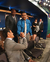 Outfielder Derek Hill (Elk Grove H.S. (CA)) the number 23 overall pick to the Detroit Tigers with infielder Jacob Gatewood (Clovis H.S. (CA) the number 41 overall pick to the Milwaukee Brewers during the MLB Draft on Thursday June 05,2014 at Studio 42 in Secaucus, NJ.   (Tomasso DeRosa/ Four Seam Images)