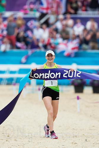 12 AUG 2012 - LONDON, GBR - Laura Asadauskaite (LTU) of Lithuania celebrates winning the women's London 2012 Olympic Games Modern Pentathlon in Greenwich Park, Greenwich, London, Great Britain (PHOTO (C) 2012 NIGEL FARROW)