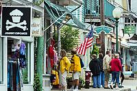 Tourists explore the charming shops of Oak Bluffs, Marthas Vineyard, Massachusetts, USA.