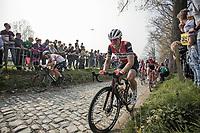 John Degenkolb (GER/Trek Segafredo) up the  Koppenberg, cobbles<br /> <br /> 103rd Ronde van Vlaanderen 2019<br /> One day race from Antwerp to Oudenaarde (BEL/270km)<br /> <br /> ©kramon