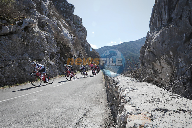 Action from Stage 7 of the 78th edition of Paris-Nice 2020, running 166.5km from Nice to Valdeblore La Colmiane, France. 14th March 2020.<br /> Picture: ASO/Fabien Boukla | Cyclefile<br /> All photos usage must carry mandatory copyright credit (© Cyclefile | ASO/Fabien Boukla)