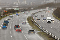 Pictured: Cars travel in stormy conditions on the M4 motorway near Pyle, south Wales, UK. Saturday 15 February 2020<br /> Re: Strong winds and heavy rain caused by storm Dennis has been affecting parts of the UK.